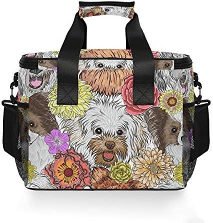 Bardic Sac isotherme Motif fleurs colorées et chiens mignons 15 l