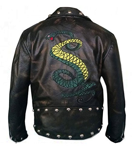 NM Fashions Black Snakes Desing High Qaulity Faux & Real Leather Jacket