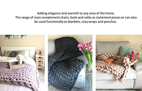 11 lbs/ 5 kgs Chunky arm knitting yarn Merino wool Super bulky soft giant knit large for arm knitted blanket 21.5 microns huge yarn Queen King size blanket - Christmas present idea by Wonddecor (Image #4)