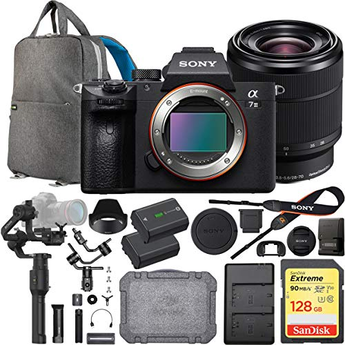 Sony a7III Full Frame Mirrorless Camera with FE 28-70 mm F3.5-5.6 OSS Lens ILCE-7M3K/B with DJI Ronin-S Handheld 3-Axis Gimbal Stabilizer and Deco Gear Backpack Extra Battery 128GB Memory Bundle