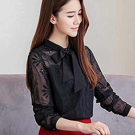 BYZ Camisa de Encaje de Fondo Mujer Primavera de Camisa Roja de Manga Larga Otoño E Invierno Ropa de Moda Salvaje,Negro,L: Amazon.es: Hogar