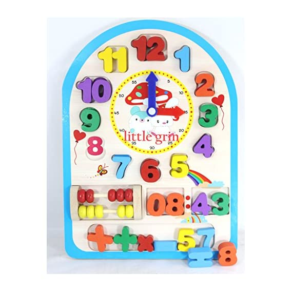 little grin Multifunctional Digital Wooden clock with Movable Hands and Numbers, Mathematical Symbols - Educational and