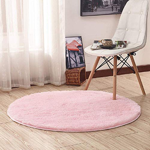 (Junovo Round Fluffy Soft Area Rugs for Kids Girls Room Princess Castle Plush Shaggy Carpet Baby Room Decor, Diameter 4ft Pink (Upgrade)