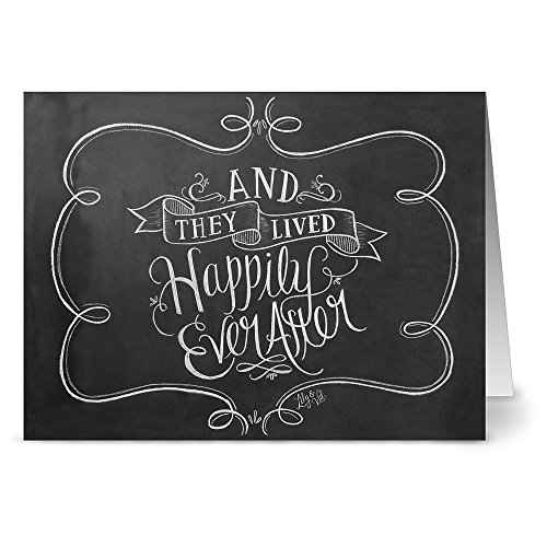 Wedding Cards - 36 Pack - Happily Ever After - 6 Unique Designs - KRAFT ENVELOPES INCLUDED - Blank Greeting Card - Glossy Cover Blank Inside - By Note Card Café