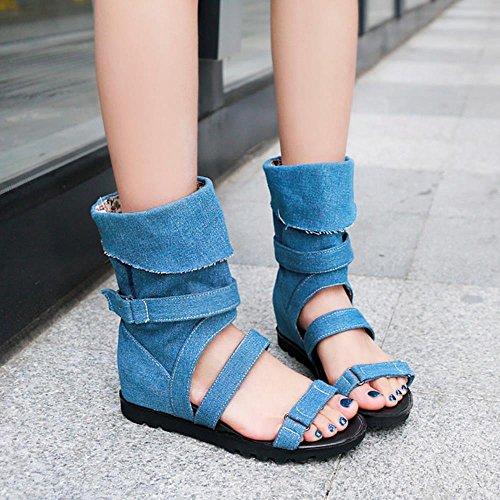 Coolcept Damesmode Laarzen Sandalen Sleehakken Verhoging Hak Bootie Demin Schoenen Blauw