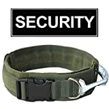 haoyueer 2 inch Wide Nylon Dog Collars Reflective Handle W/Patch Security for Medium Large Dogs Pit Bull Mastiff Bully Boxer(ArmyGreen,L)
