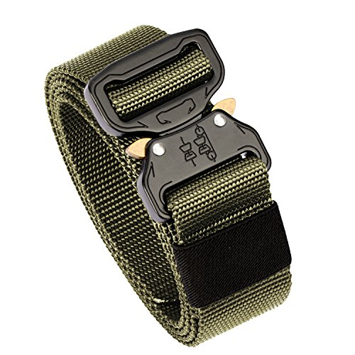 Men's Tactical Belt Heavy Duty Webbing Belt Adjustable Military Style Nylon Belts with Metal Buckle (Army Green1, Large)