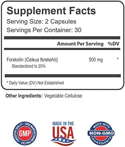 PREMIUM FORSKOLIN EXTRACT, 500mg - 60 Capsules w/ 20% Standardized Forskolin, Non-GMO & Gluten Free, Appetite Suppressant, MAX Strength Belly Fat Burner, Carb Blocker, Weight Loss Supplement. USA Made 6
