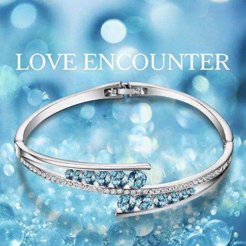 Menton Ezil ''Love Encounter Sapphire Blue Swarovski Bracelets Woman Bangle 7'' Charm Tennis Jewelry by Menton Ezil (Image #4)