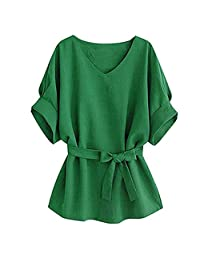 Women Vogue V-neck Linen Wide Hem Plus Size Tunic Blouse Tee T-Shirt Tops