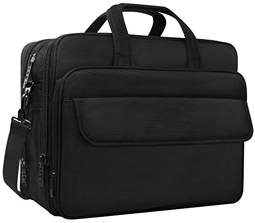 Expandable Laptop Computer Briefcase (Taygeer 17.3 Inch Laptop Bag, Expandable Multi-functional Business Briefcase, Water Resitant Single-shoulder Computer Messenger Bag,Carry On Handle Travel Case for Asus Acer Dell HP, Black)