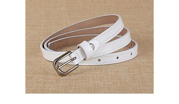 YANGFEIFEI-PD Cinturón muy elegante La chica de cuero correa cintura pin Embellecedor Kraft atado, blanco: Amazon.es: Deportes y aire libre