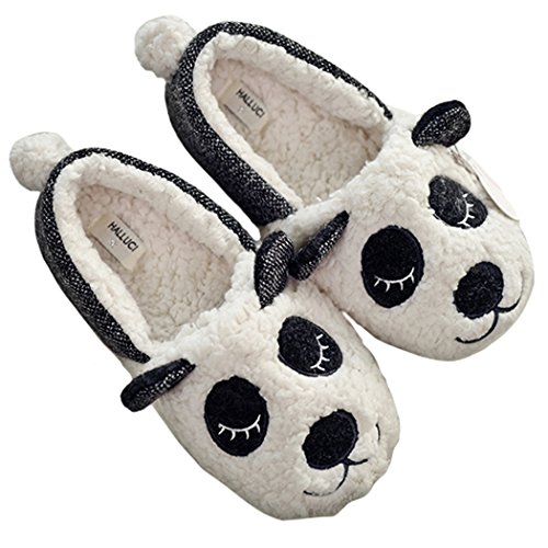 HALLUCI Women's Cozy Fleece Memory Foam House Trick Treat Halloween Slippers (5-6 M US, Napping -