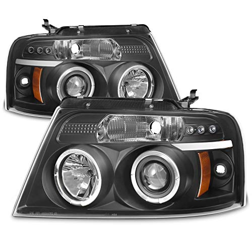 For Ford F150 F-150 Pickup Black Bezel Dual Halo LED G2 Projector Headlights Front Lamps - Parts Ford Accessories F150