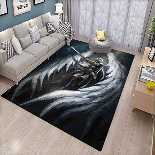 Fantasy Bath Mats for Floors Angel Knight with Majestic Wings Spiritual Superior Power Imagination Art Print Door Mat Indoors Bathroom Mats Non Slip Silver White ()