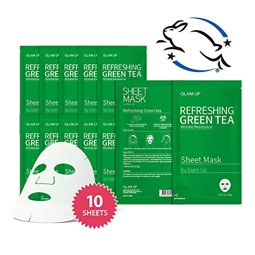 (Sheet mask by glam up BTS Refreshing Green Tea - Revitalize Dull Skin. Dark Circle Fighter Nature made Freshly packed Daily Skin Therapy Original K-Beauty Recipe x 10ea)