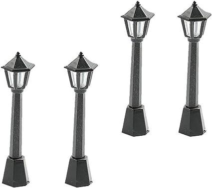 WINOMO 10pcs Mini Street Light Model Lamp Post Lights Outdoor Pathway Lantern Post Christmas Doll House Fairy Garden Miniatures Decorations