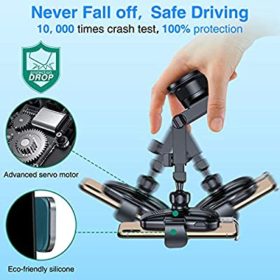 VANMASS Wireless Car Charger Mount, Automatic Clamping Qi 10W 7.5W Fast Charging Car Mount, Windshield Dashboard Air Vent Phone Holder Compatible with iPhone 11 Pro Xs X 8,Samsung S20 S10 Note10,Black