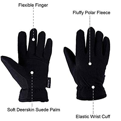 OZERO Winter Gloves, -20°F(-29?) Cold Proof Thermal Work Glove - Deerskin Suede Leather Palm and Polar Fleece Back with Heatlok Insulated Cotton - Hands Warm in Cold Weather for Women and Men