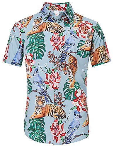 TUONROAD Mens Casual Flower Tropical Vacation Aloha Short Sleeve Monstera Leaf Bright-Coloured Floral Plus Size XL Hawaiian Shirt Attire Hot Funny Printed Pattern Custom Button Down Shirt