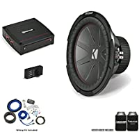 """Kicker 43CWR124 12"""" CompR Subwoofer with 44KXA4001 KX-Series Amplifier and wire kit"""
