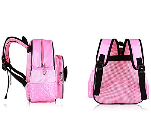 Bow Zhuhaixmy Backpack Bags Waterproofrose Pink fPrimary Students PU Leather Children School 1H1xpnP6