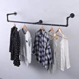 GWH Industrial Pipe Clothing Rack Wall Mounted,Vintage Retail Garment Rack Display Rack Cloths Rack,Metal Commercial Clothes Racks for Hanging Clothes,Black Iron Clothing Rod Laundry Room Decor(59in)