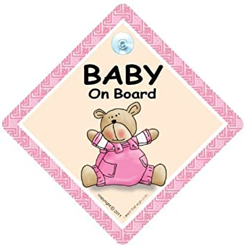 Baby on Board Sign Baby Girl In Car Sign Grandchild on Board Bumper Sticker Style Baby Car Sign Baby Car Sign Baby on Board Car Sign PINK BEAR QUILT Child sign,Baby on Board Sign Baby Sign