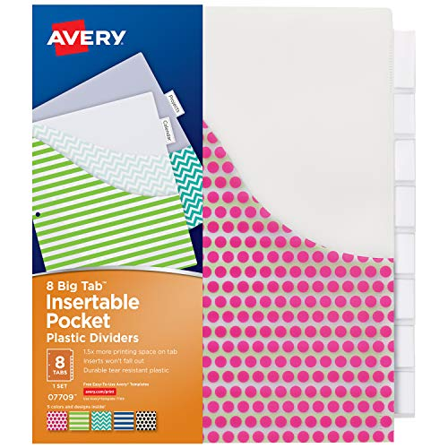 Avery Insertable Pockets (Avery 8-Tab Plastic Binder Dividers with Pockets, Insertable Clear Big Tabs, Assorted Designs, 1 Set (7709))