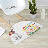 Kids Birthday Semicircular Cushion Russel Dog Domestic Puppy Pet with Hat at a Party Celebration with Yummy Cake Entry Door Mat H 47.2'' xD 70.8'' Multicolor
