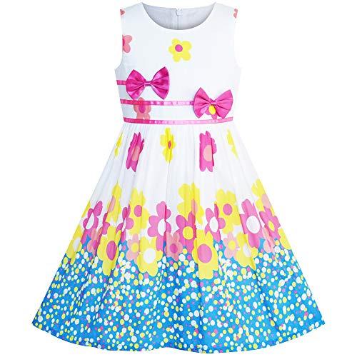 Girls Dress Flower Purple Bow Tie Summer Sundress Size -