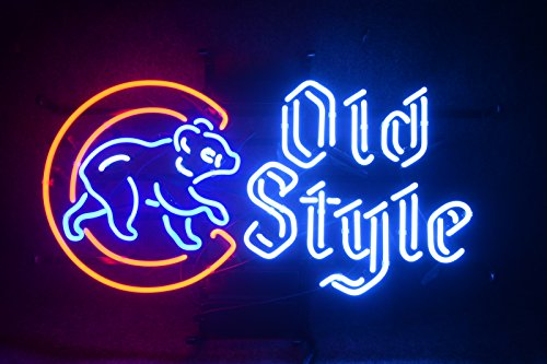 "Desung 20""x16"" Chicago Sports Team Cub Old Style Neon Sign (MultipleSizes) Man Cave Sports Bar Pub Beer Glass Light Lamp CX50"