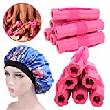 Hair Rollers Curlers, Foam Sponge Hair Curlers, Pillow Hair Curlers, No Heat Sleeping Hair Rollers for Long & Short & Thick & Thin Hair, Flexible Hair Curlers for Women & Girls, 12 Pcs with Sleep Cap