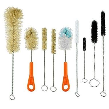 Ultimate Bottle & Tube Brush Cleaning  - Natural & Synthetic Bristles (Set 9 Sizes & Shapes)