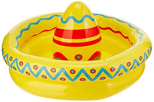 Beistle Inflatable Sombrero Cooler Party Accessory 18-Inch by 12-Inch (1 count), Multicolor, One Size -