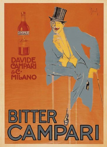Bitter Campari  C 1921 Art Print By Enrico Sacchetti 24 X 32In With Poster Hanger