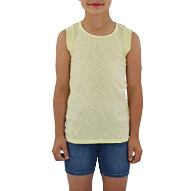 0796919b Tween Girls Weekend Vibes Vintage Cutout Muscle Tee in Yellow (Large, Yellow )