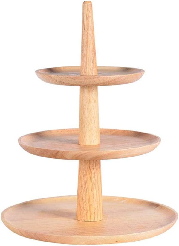 Ridecle Wooden Trays,3 Tier Cake Stand Wooden Serving Tray 3 Tier Wooden Tray Fruit Platter Elegant Wedding Cupcake Holder Wooden Cheese Dish Salad Plates