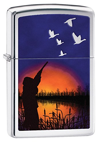 (Zippo Sunset Pond Pocket Lighter, High Polish Chrome)
