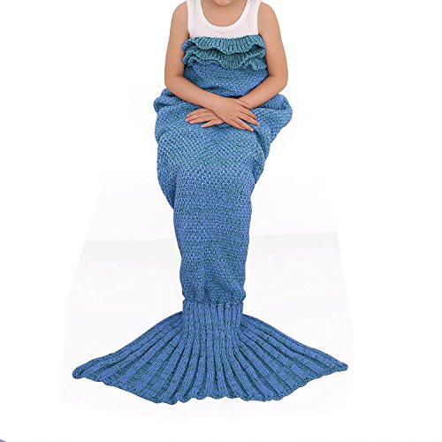 "Price comparison product image ONEPACK Handmade Mermaid Tail Blanket Crochet, Mermaid Blanket for adult Child, Super Soft Comfortable Suitable for All Seasons Sleeping, Reading, Watching, Working, Sofa Blankets(56"" x 25.6"",  Lake Blue)"