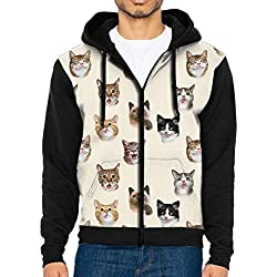 Cute Cats Kittens Pet Selfies Mens Zip Up Hoodie Sweatshirts With Hat and Pockets