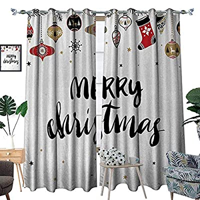 Christmas Patterned Drape for Glass Door Merry Xmas Quote with Modern Brush Lettering Creative Noel Phrase Inspirational Print Waterproof Window Curtain W72 x L96 Multi