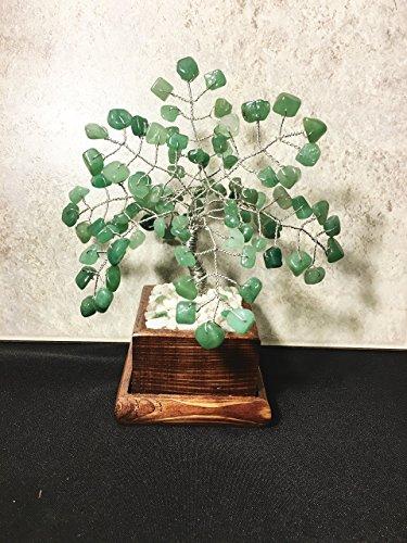 Green Adventurine Crystal Gemstone Bonsai Tree Of Life,Feng Shui,Wire Art Decor,Healing Gemstone Wire Tree Sculpture In Wood Pot, Money Tree ()