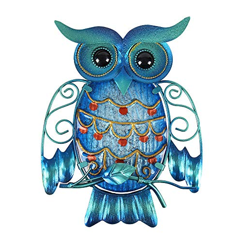 Liffy Metal Owl Wall Decoration Blue Home Hanging Glass Decorative Wall Art for Indoors or Outdoors