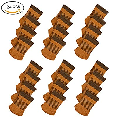 24pcs Furniture Legs Floor Protectors, Non-Slip Chair Leg Covers, Best Knitted Chair Feet Socks for Bar Stool, Dinning Chairs or Table, Protect Hardwood Floors from Scratches and Reduce Noise (Coffee)