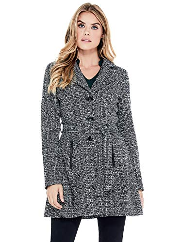 Nylon Tweed Coat - GUESS Factory Women's Larae Fit-and-Flare Tweed Coat