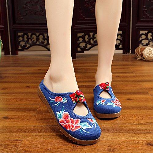 moda etnico amp;QING new infradito comodi sandali tendine stile scarpe casuali unico LTQ blue ricamate femminile BfHwHq