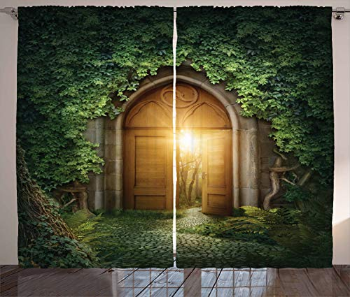 """Ambesonne Fantasy Curtains, Sunbeams Through The Mysterious Half Opened Wooden Entrance with Greenery, Living Room Bedroom Window Drapes 2 Panel Set, 108"""" X 84"""", Green Brown"""
