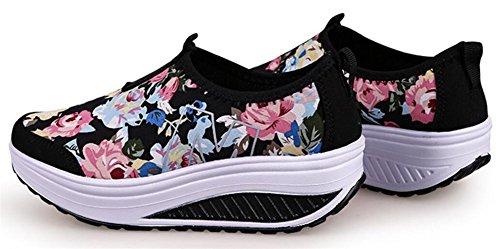 Vuxna Womens Form Ups Dra Promenadskor Casual Mode Sneakers Svart