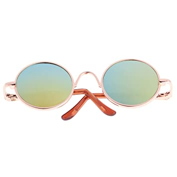 25edbf6fc097 MonkeyJack Retro 50s 60s Style Gold Round Frame Glasses for 1 6 Blythe  Dolls Gold Lens